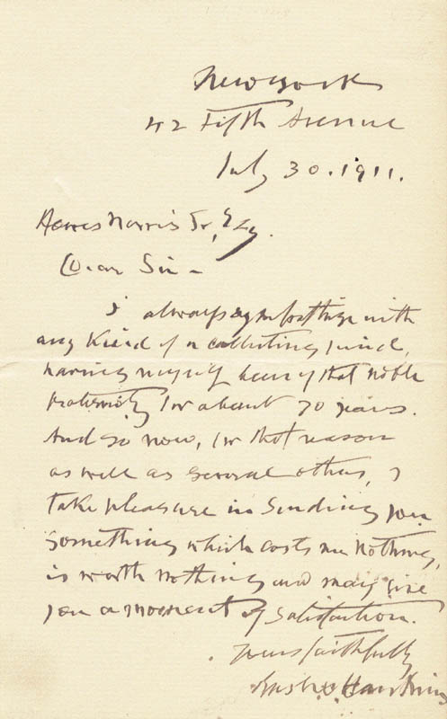 Image 1 for Brigadier General Rush C. Hawkins - Autograph Letter Signed 07/30/1911 - HFSID 22244