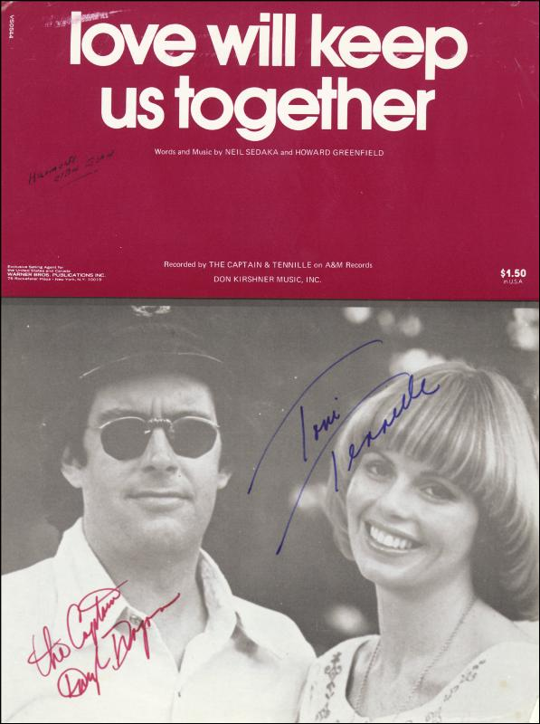 Image 1 for Captain & Tennille - Sheet Music Signed co-signed by: Captain & Tennille (Daryl Dragon), Captain & Tennille (Toni Tennille) - HFSID 222441