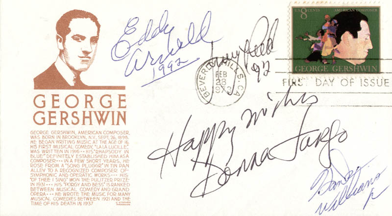 Image 1 for Eddy Arnold - First Day Cover With Autograph Sentiment Signed 1992 co-signed by: Jerry Reed, Donna Fargo, Hank Williams Jr. - HFSID 222463