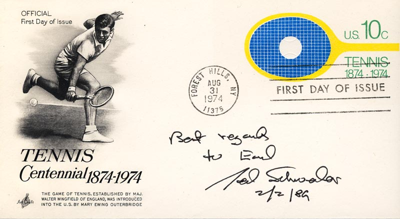 Image 1 for Ted Schroeder - First Day Cover With Autograph Sentiment Signed 02/02/1989 - HFSID 222476