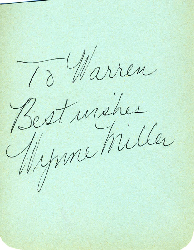 Image 1 for Wynne Miller - Autograph Note Signed - HFSID 223423