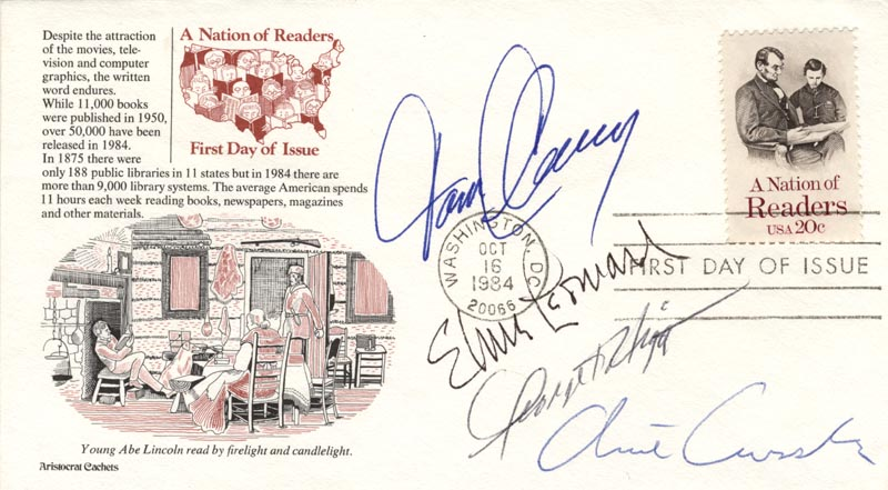 Image 1 for Tom Clancy - First Day Cover Signed co-signed by: Elmore J. Leonard Jr., Clive Cussler, George V. Higgins - HFSID 223477