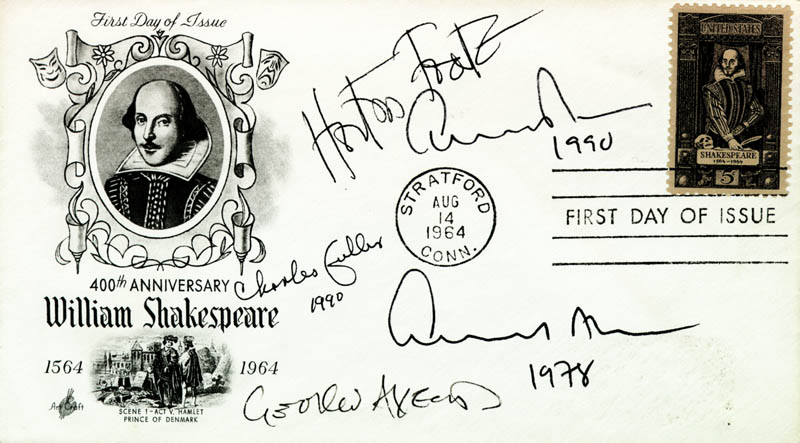Image 1 for Edward Albee - First Day Cover Signed 1990 co-signed by: Albert 'Horton' Foote Jr., Charles Fuller, George Axelrod - HFSID 223485