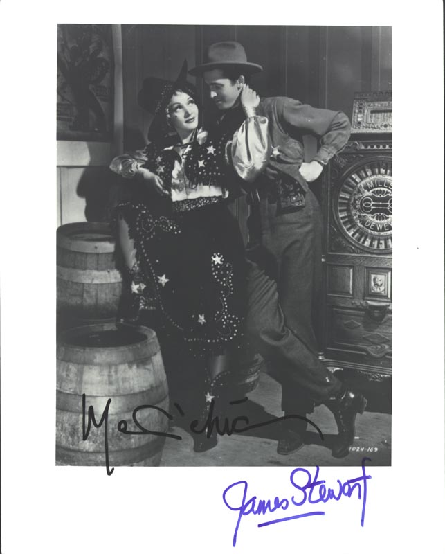 Image 1 for Destry Rides Again Movie Cast - Autographed Signed Photograph co-signed by: Marlene Dietrich, James 'Jimmy' Stewart - HFSID 223548