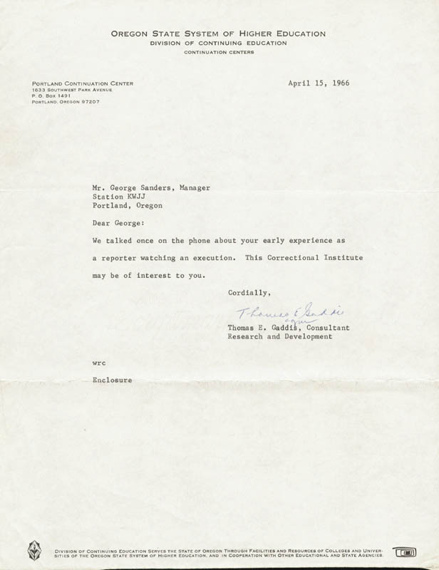 Image 1 for Thomas Eugene Gaddis - Typed Letter Signed 04/15/1966 - HFSID 22376