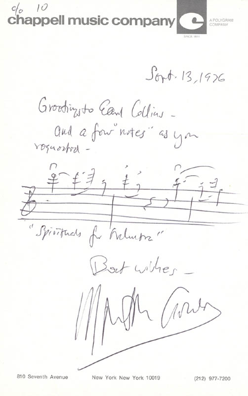 Image 1 for Morton Gould - Autograph Musical Quotation Signed 09/13/1976 - HFSID 22399