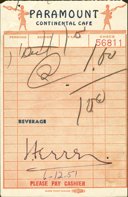 Image 1 for Jose Ferrer - Meal Ticket Signed 06/12/1951 - HFSID 224070