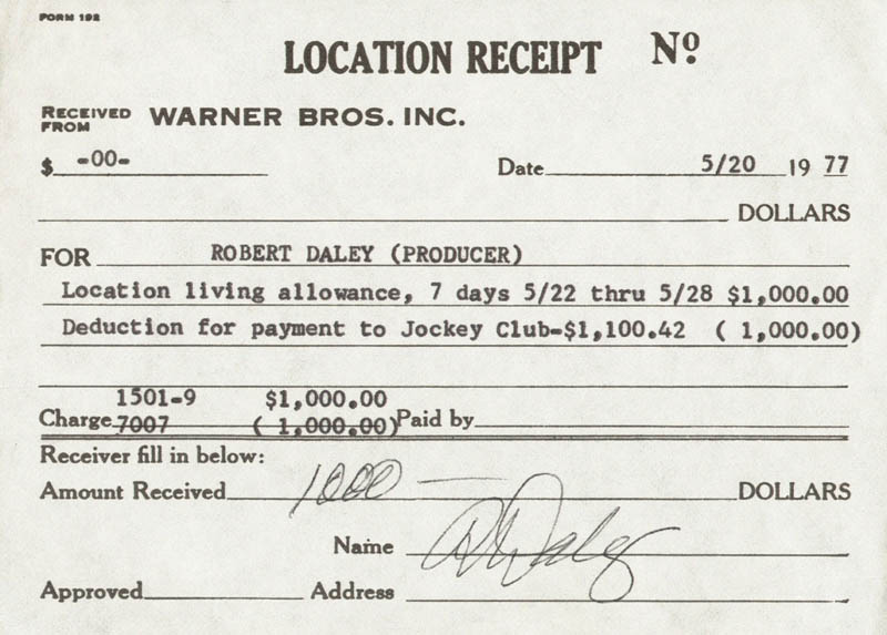 Image 1 for Robert Daley - Receipt Signed 05/20/1977 - HFSID 224413