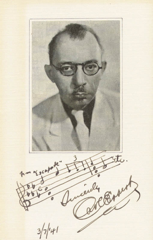 Image 1 for Carl Eppert - Musical Quotation Signed 03/07/1941 - HFSID 224485