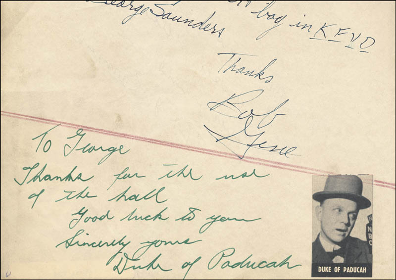 Image 1 for Duke Of Paducah - Autograph Note Signed co-signed by: Jenks 'Tex' Carman - HFSID 224495