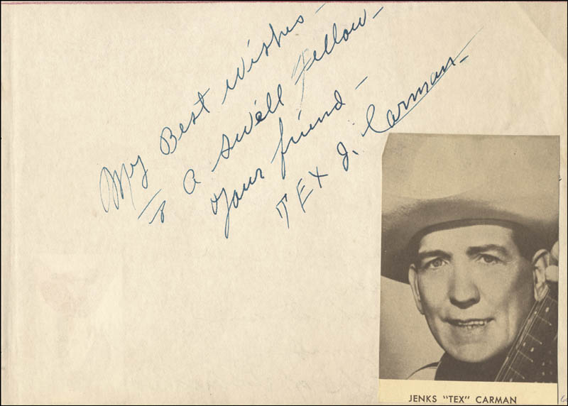 Image 3 for Duke Of Paducah - Autograph Note Signed co-signed by: Jenks 'Tex' Carman - HFSID 224495