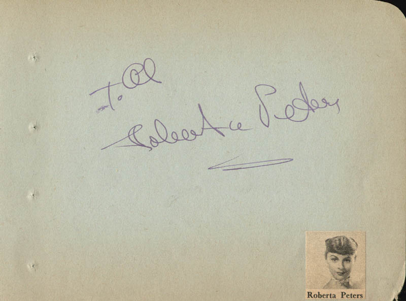 Image 1 for Roberta Peters - Inscribed Signature - HFSID 224507