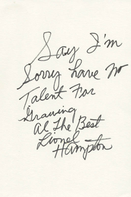 Image 1 for Lionel Hampton - Autograph Note Signed - HFSID 224544