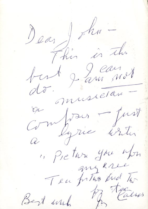 Image 1 for Irving Caesar - Autograph Lyrics Signed - HFSID 224604