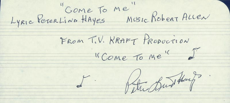 Image 1 for Peter Lind Hayes - Autograph Lyrics Signed - HFSID 224606