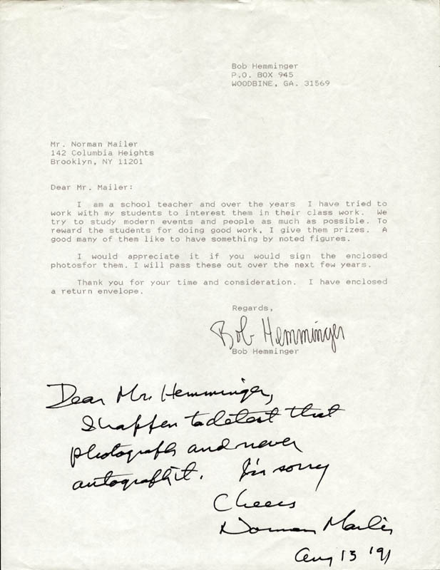 Image 1 for Norman Mailer - Autograph Note Signed 08/13/1991 - HFSID 224657