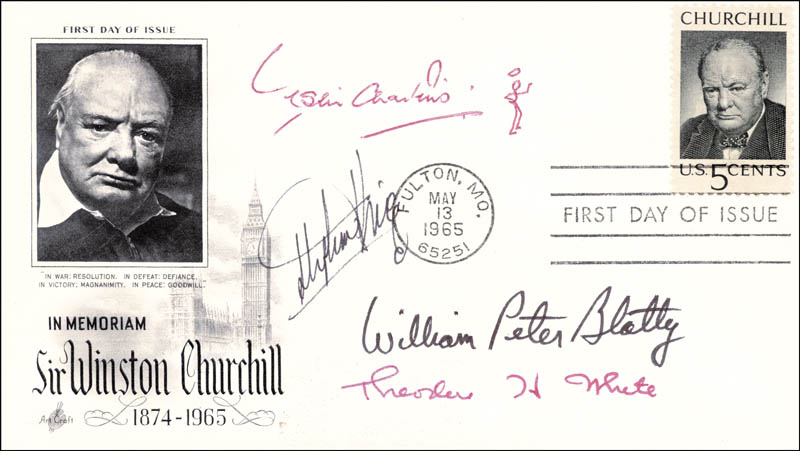 Image 1 for Stephen King - First Day Cover Signed co-signed by: Theodore H. White, William Peter Blatty, Leslie Charteris - HFSID 225011
