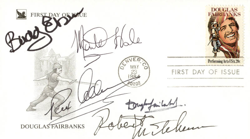 Image 1 for Robert Mitchum - First Day Cover Signed co-signed by: Monte Hale, Buddy Ebsen, Douglas Fairbanks Jr., Rex Allen - HFSID 225014