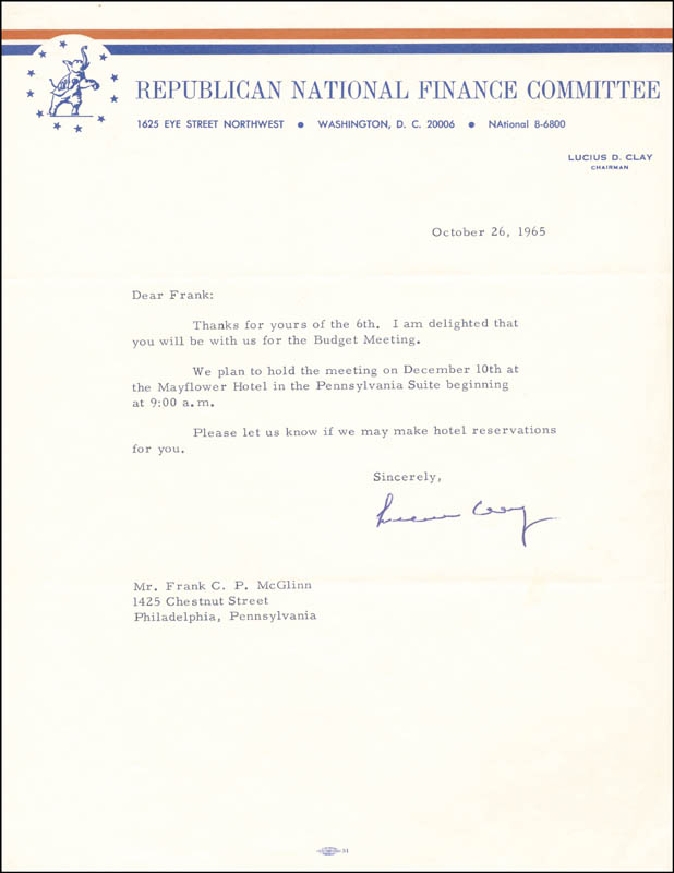 Image 1 for General Lucius D. Clay - Typed Letter Signed 10/26/1965 - HFSID 225089