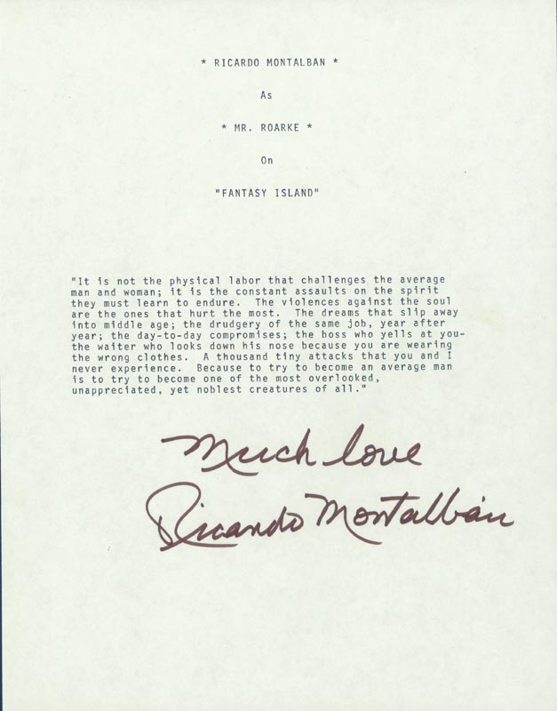 Image 1 for Ricardo Montalban - Typescript Signed - HFSID 225182