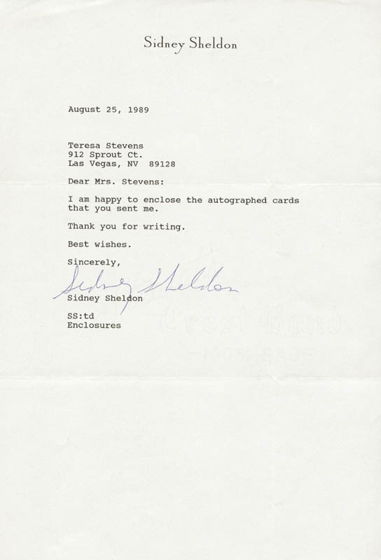 Image 1 for Sidney Sheldon - Typed Letter Signed 08/25/1989 - HFSID 225275