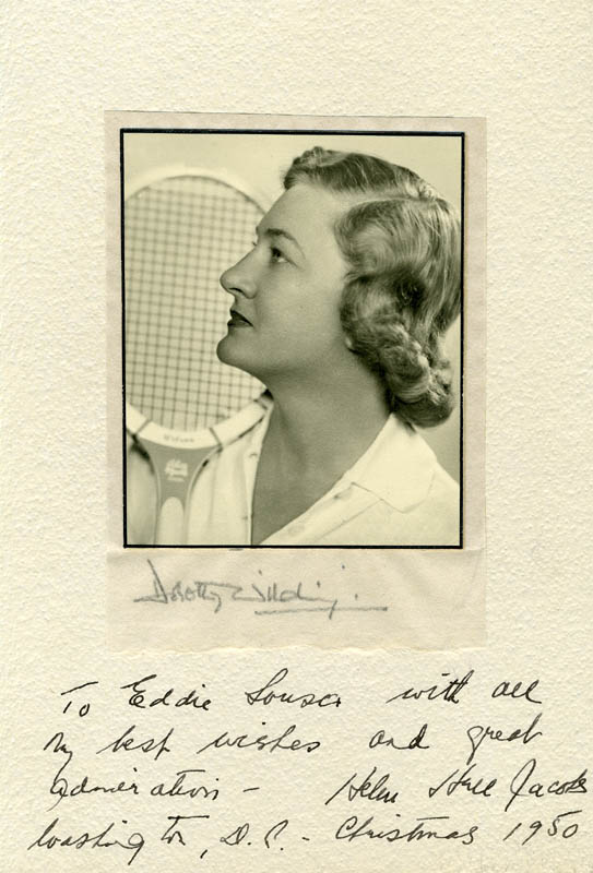 Image 1 for Helen Hull Jacobs - Inscribed Photograph Mount Signed 12/1950 co-signed by: Dorothy Wilding - HFSID 225308