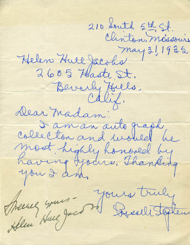 Image 1 for Helen Hull Jacobs - Autograph Circa 1935 - HFSID 225309
