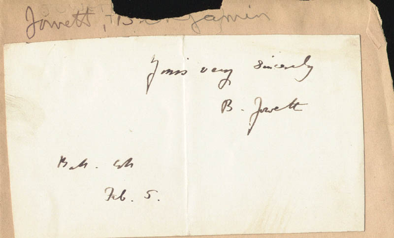 Image 1 for Benjamin Jowett - Autograph Sentiment Signed 02/05 - HFSID 225413