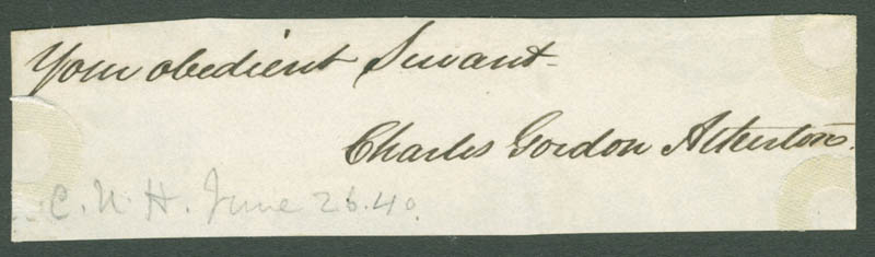 Image 1 for Charles Gordon Atherton - Autograph Sentiment Signed Circa 1840 - HFSID 225418