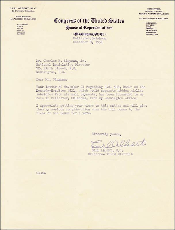 Image 1 for Carl B. Albert - Typed Letter Signed 12/08/1951 - HFSID 225509