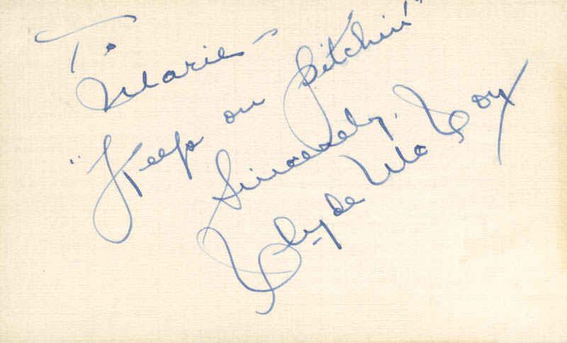 Image 1 for Clyde Mccoy - Autograph Note Signed - HFSID 225529