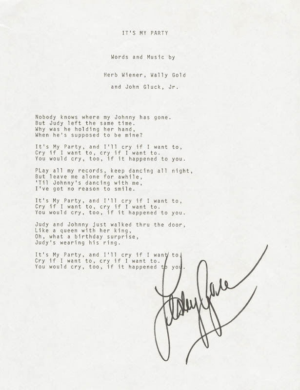 Image 1 for Lesley Gore - Typed Lyric(s) Signed - HFSID 225569