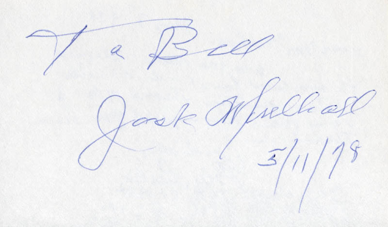 Image 1 for Jack Mulhall - Inscribed Signature 05/11/1978 - HFSID 22559