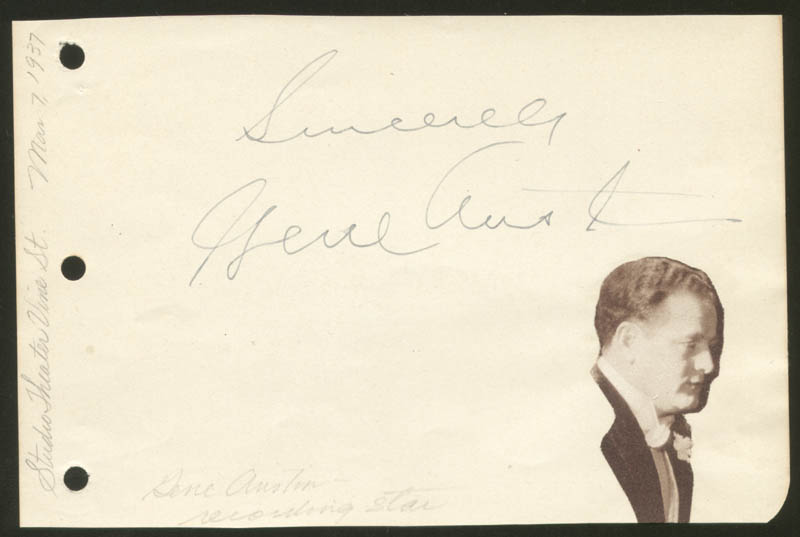 Image 1 for Gene Austin - Autograph Sentiment Signed Circa 1937 - HFSID 225624