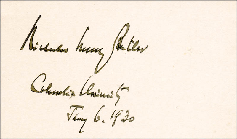 Image 1 for Nicholas Murray Butler - Autograph 01/06/1930 - HFSID 225883