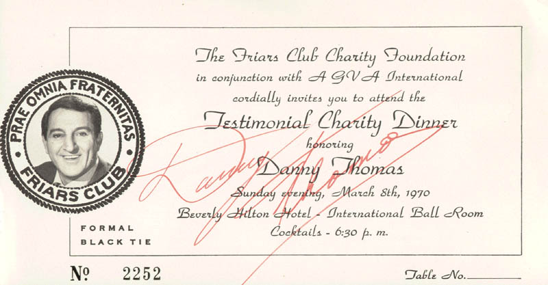 Image 1 for Danny Thomas - Ticket Signed Circa 1970 - HFSID 225934