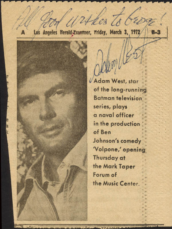 Image 1 for Adam West - Inscribed Newspaper Photo Signed - HFSID 225938