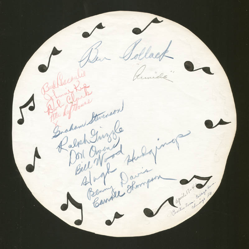 Image 1 for Ben Pollack - Autograph Circa 1940 co-signed by: Benny Davis, Pete Lofthouse, Bill Wood, Hugh Hudgings, Don Owens - HFSID 225970