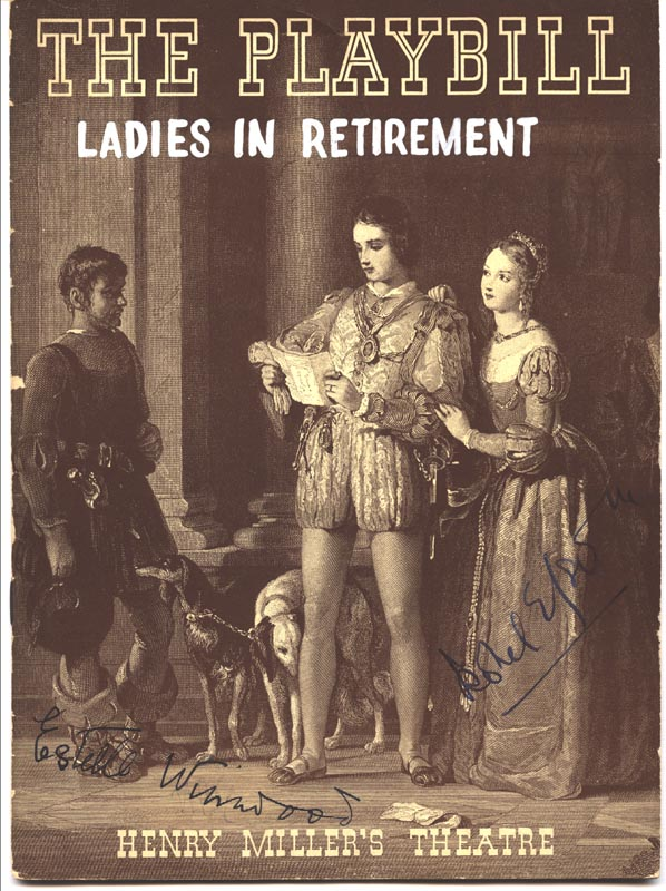 Image 1 for Ladies In Retirement Play Cast - Show Bill Signed co-signed by: Estelle Winwood, Isobel Elsom - HFSID 226103