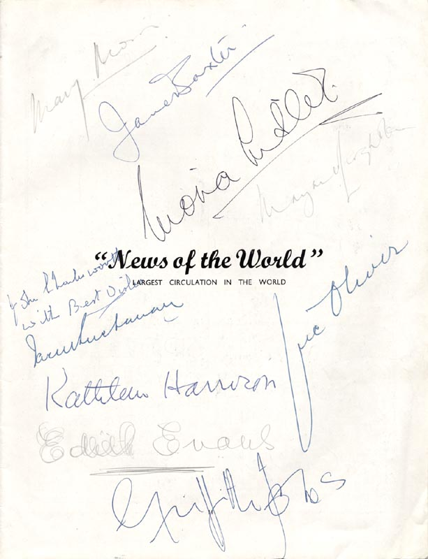 Image 1 for Jane Baxter - Inscribed Program Signed co-signed by: Vic (Victor) Oliver, Kathleen Harrison, Dame Edith Evans - HFSID 226111