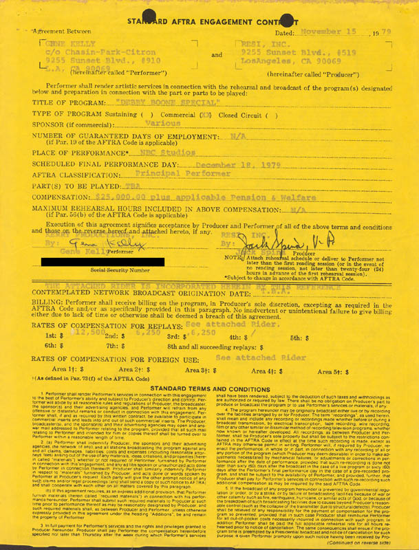 Image 1 for Gene Kelly - Contract Signed 11/15/1979 - HFSID 226423