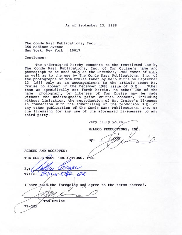 Image 1 for Tom Cruise - Document Double Signed 09/13/1988 co-signed by: Arthur Cooper - HFSID 226602