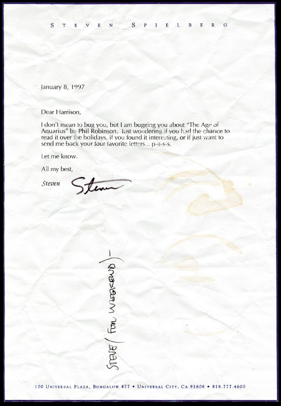 Image 1 for Steven Spielberg - Typed Letter Signed 01/08/1997 - HFSID 226720