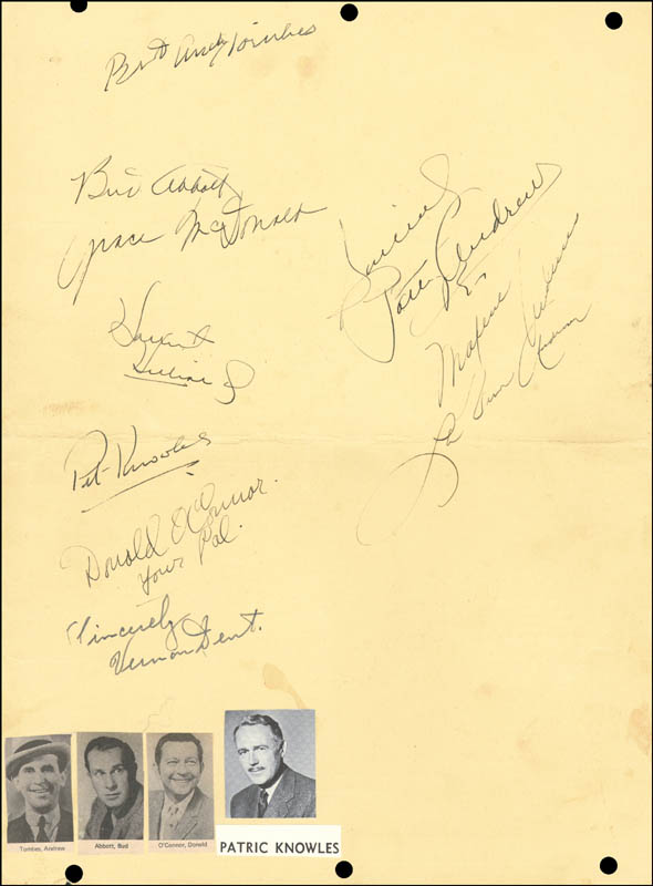 Image 1 for Abbott & Costello (Bud Abbott) - Menu Signed Circa 1943 with co-signers - HFSID 226734