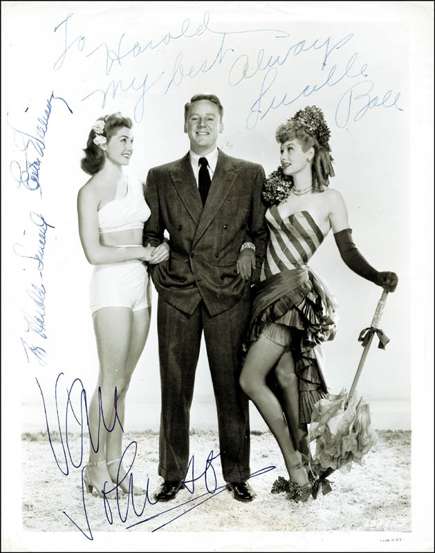 Image 1 for Easy To Wed Movie Cast - Autographed Inscribed Photograph co-signed by: Lucille 'Lucy' Ball, Esther Williams, Van Johnson - HFSID 226735