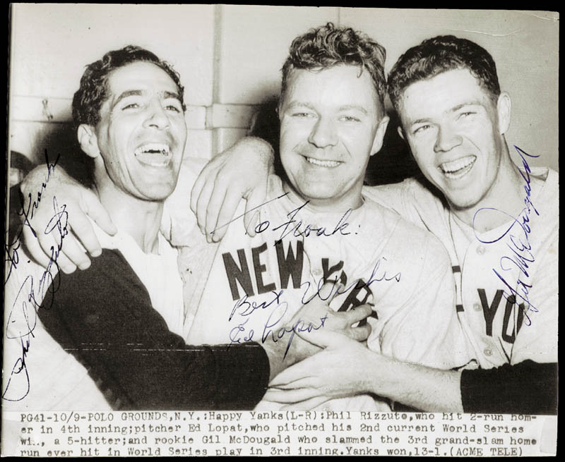 Image 1 for Phil Rizzuto - Autographed Inscribed Photograph co-signed by: Gil Mcdougald, Eddie Lopat - HFSID 226747
