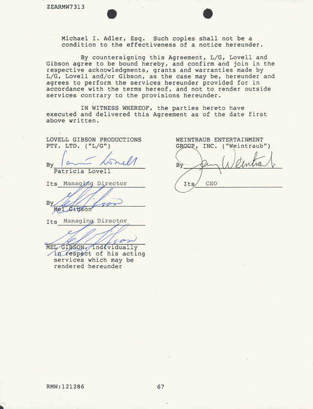 Image 1 for Mel Gibson - Contract Double Signed 12/12/1986 - HFSID 226765