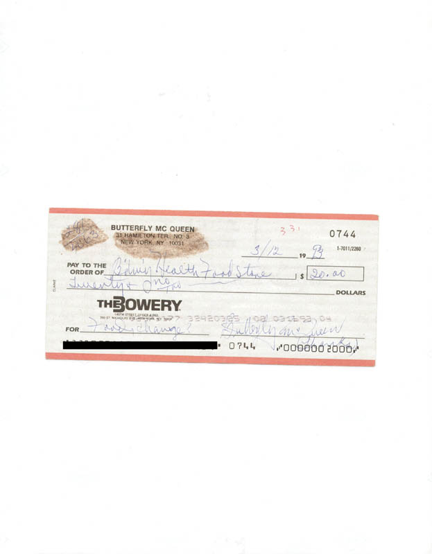 Image 1 for Butterfly Mcqueen - Autographed Signed Check 03/12/1993 - HFSID 226770