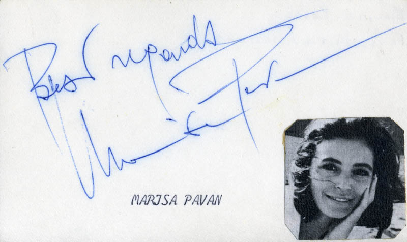 Image 1 for Marisa Pavan - Autograph Sentiment Signed - HFSID 22682