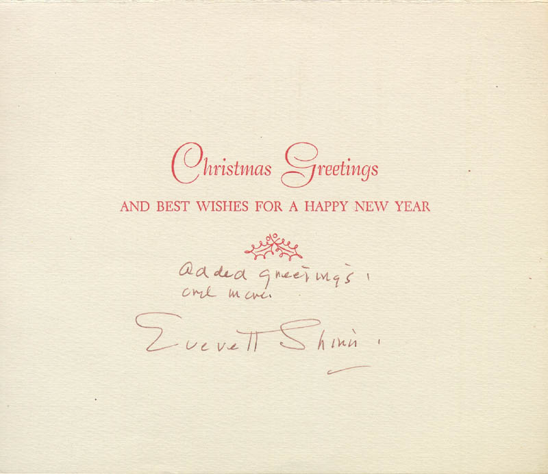 Image 3 for Everett Shinn - Christmas / Holiday Card Signed - HFSID 226840